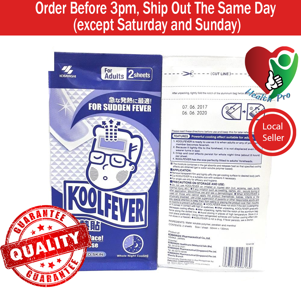 CLEARANCE STOCK Koolfever Adult 1 pack (2s) EXP DATE 6/2020