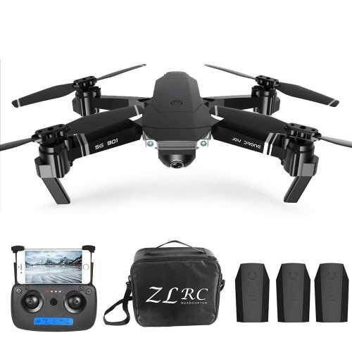 SG901 4K Drone with Camera Optical Flow Positioning MV Interface Follow Me Gesture Photos Video RC Quadcopter 3 Batteries Portable Bag (Black)