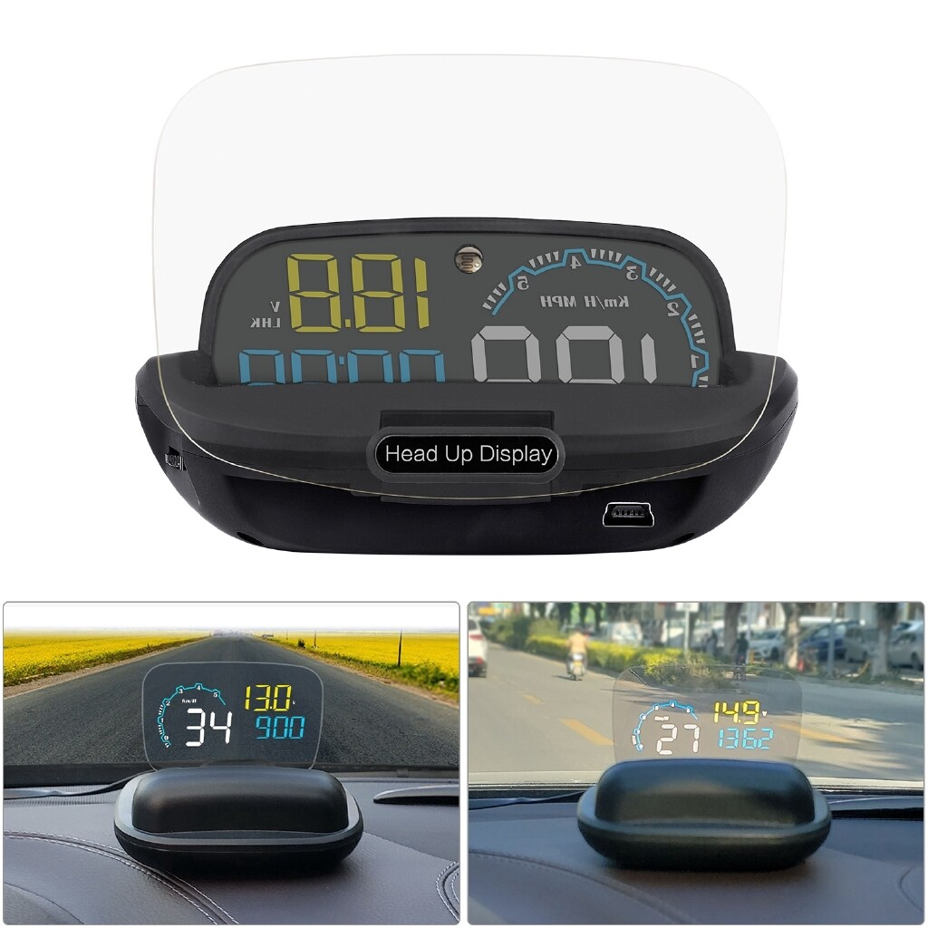 C600 HUD Head Up Display Car Front Window Speed RPM Water Temperature Voltage LED Display