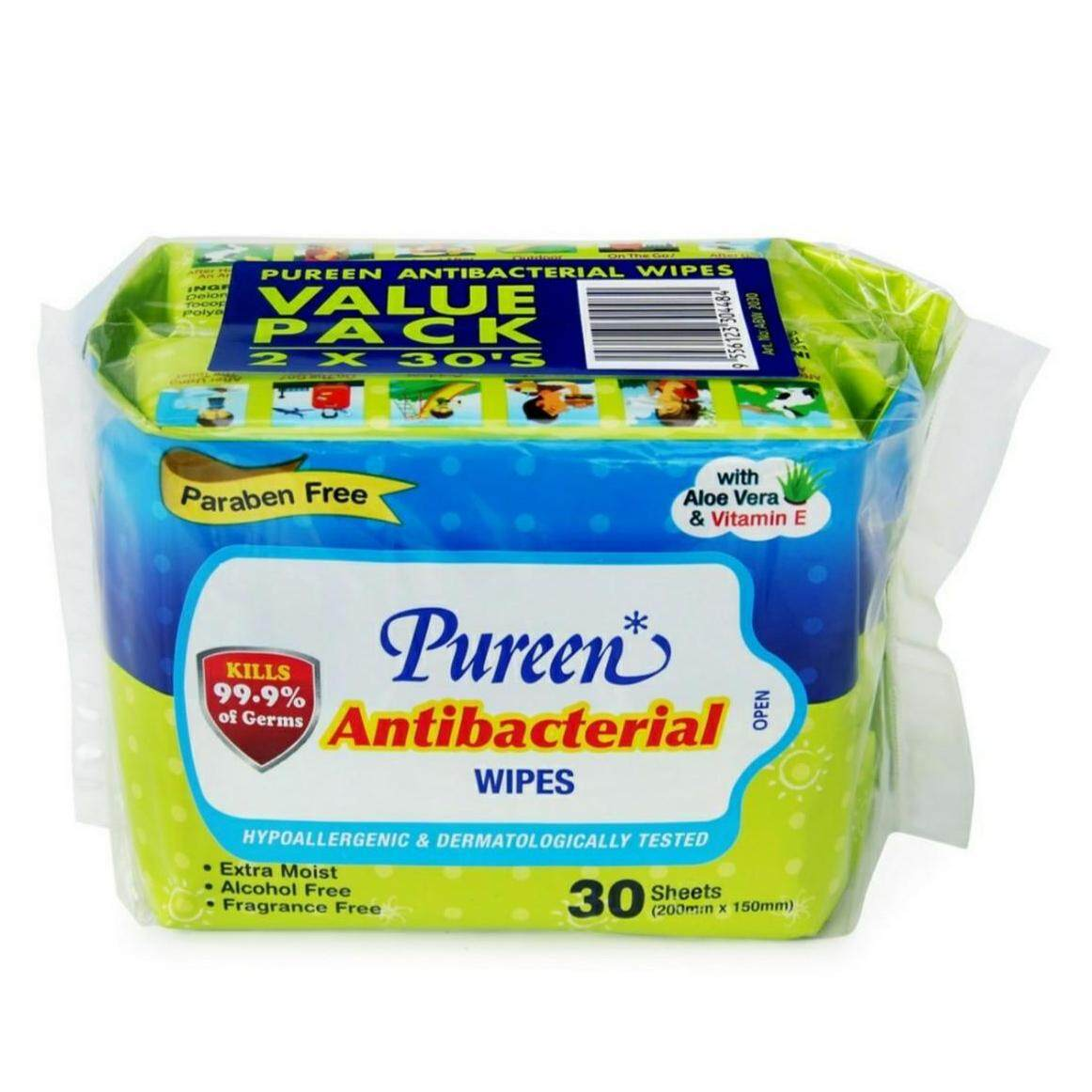 Pureen Antibacterial Wipes Fragrance Free 2 x 30's / Pureen Baby Wipes Fragrance Free (30's x 2) EXTRA MOIST