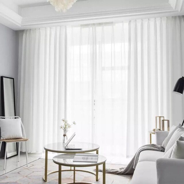 KKC Snow Tulle Sheer Lace Day Curtain Curtain With Hook or Eyelet Type ~ Ready Stock & Ship from Malaysia