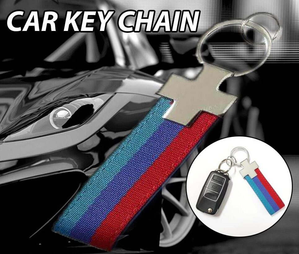 Broz Stainless Steel PVC Blue Red Universal Strap Key ring Key Chain Ring