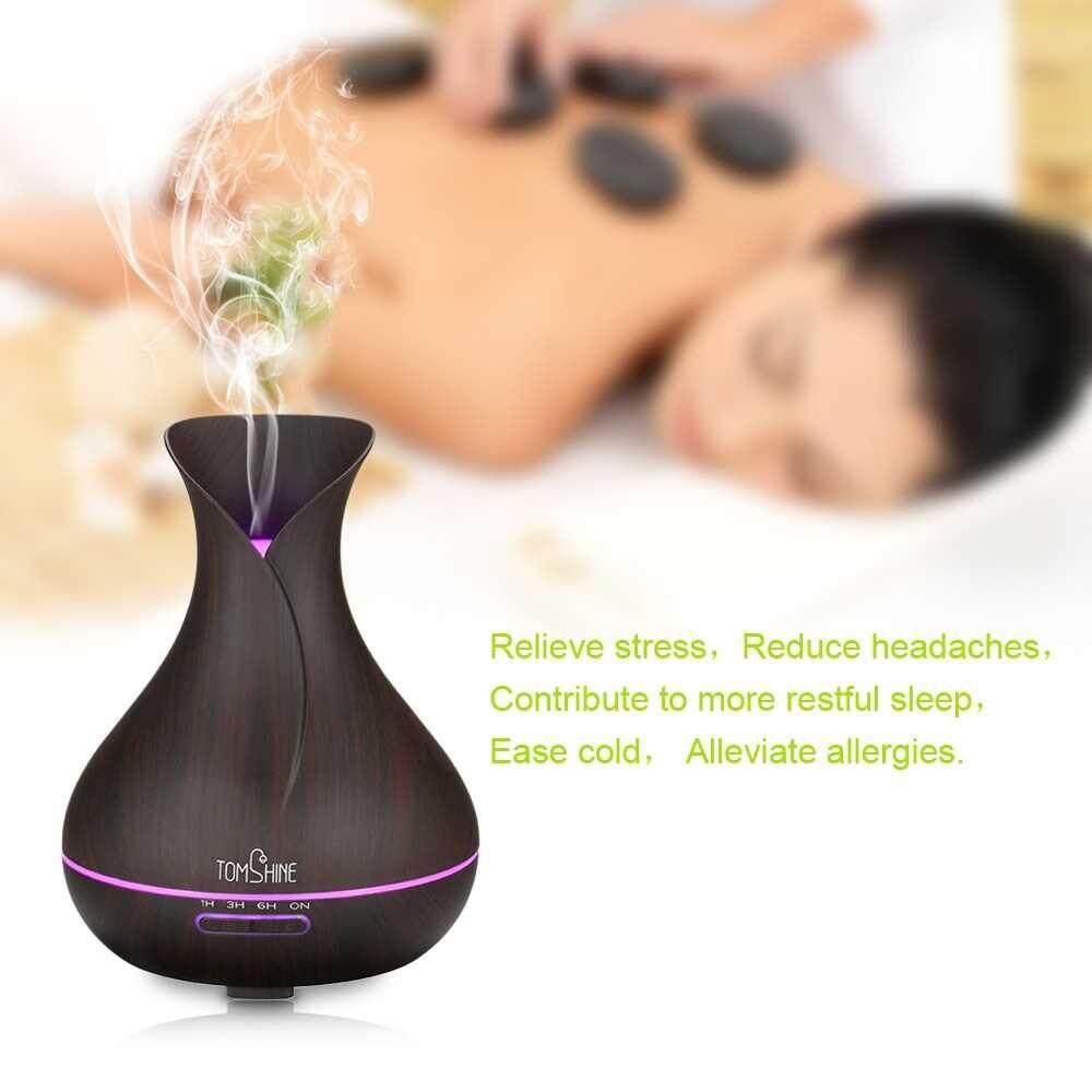 Best Selling Tomshine 400ML Wood Grain Ultrasonic Mist Air Humidifier Night Lamp