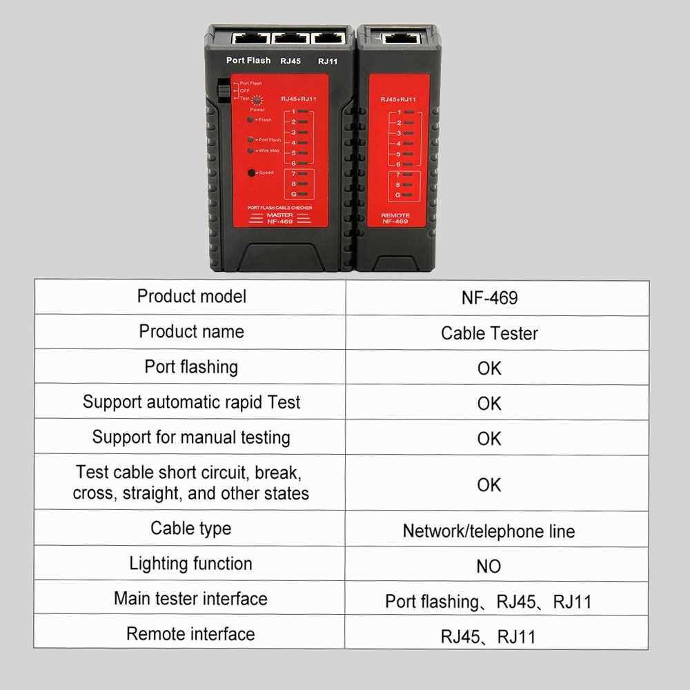 NF-469 Network Cable Tester RJ45 RJ11 Tester for Ethernet LAN Cable Landline Phone Wire Testing Tool (Multicolor)