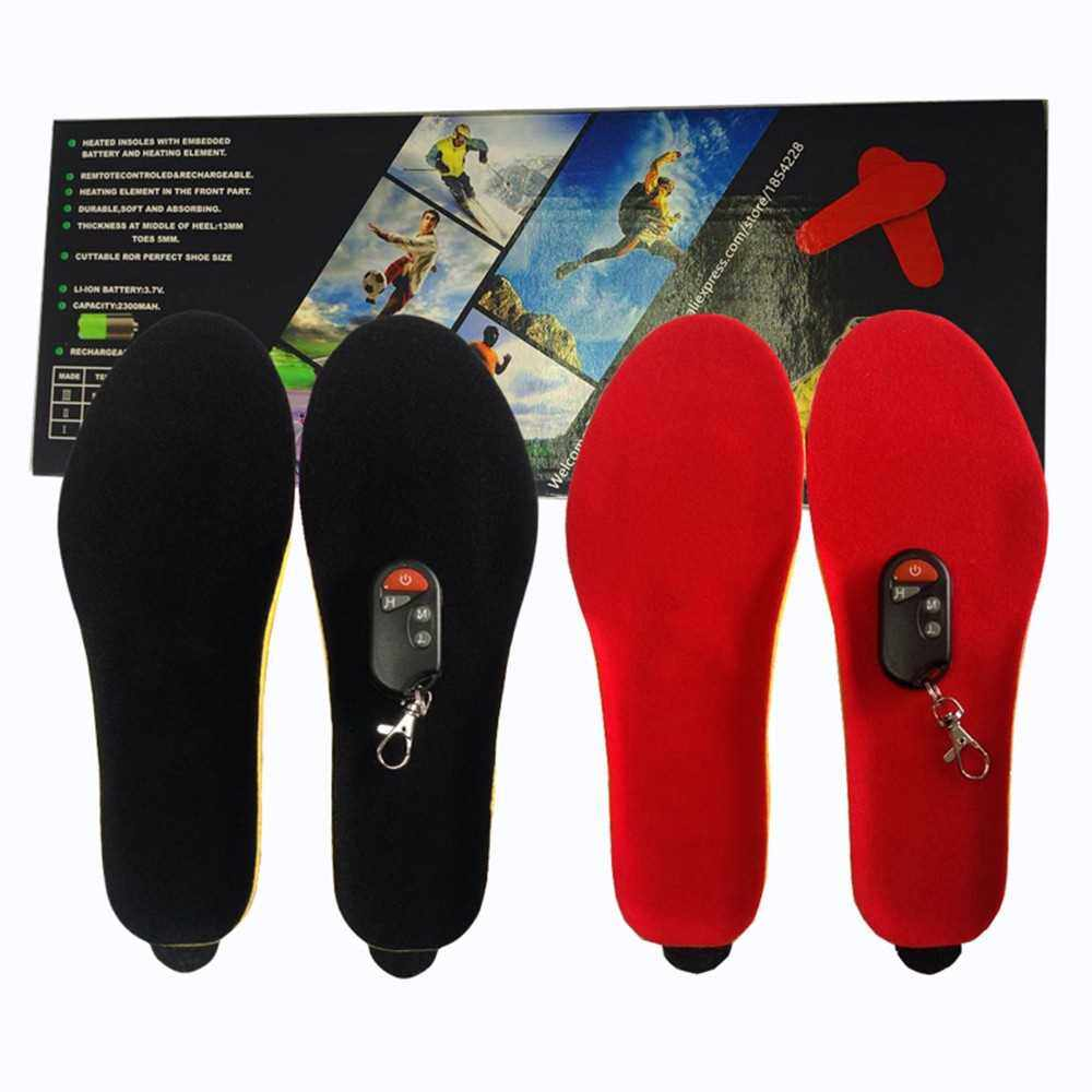 Electronic Remote Control Velvet Heating Insole (Red)