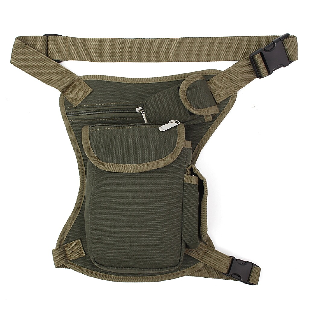 Riding Gear - Men Tactical Canvas Drop Leg Waist Belt Fanny Pack Motorcycle Outdoor Hiking Bag zsjladyshop - BROWN / ARMYGREEN / KHAKI / BLACK