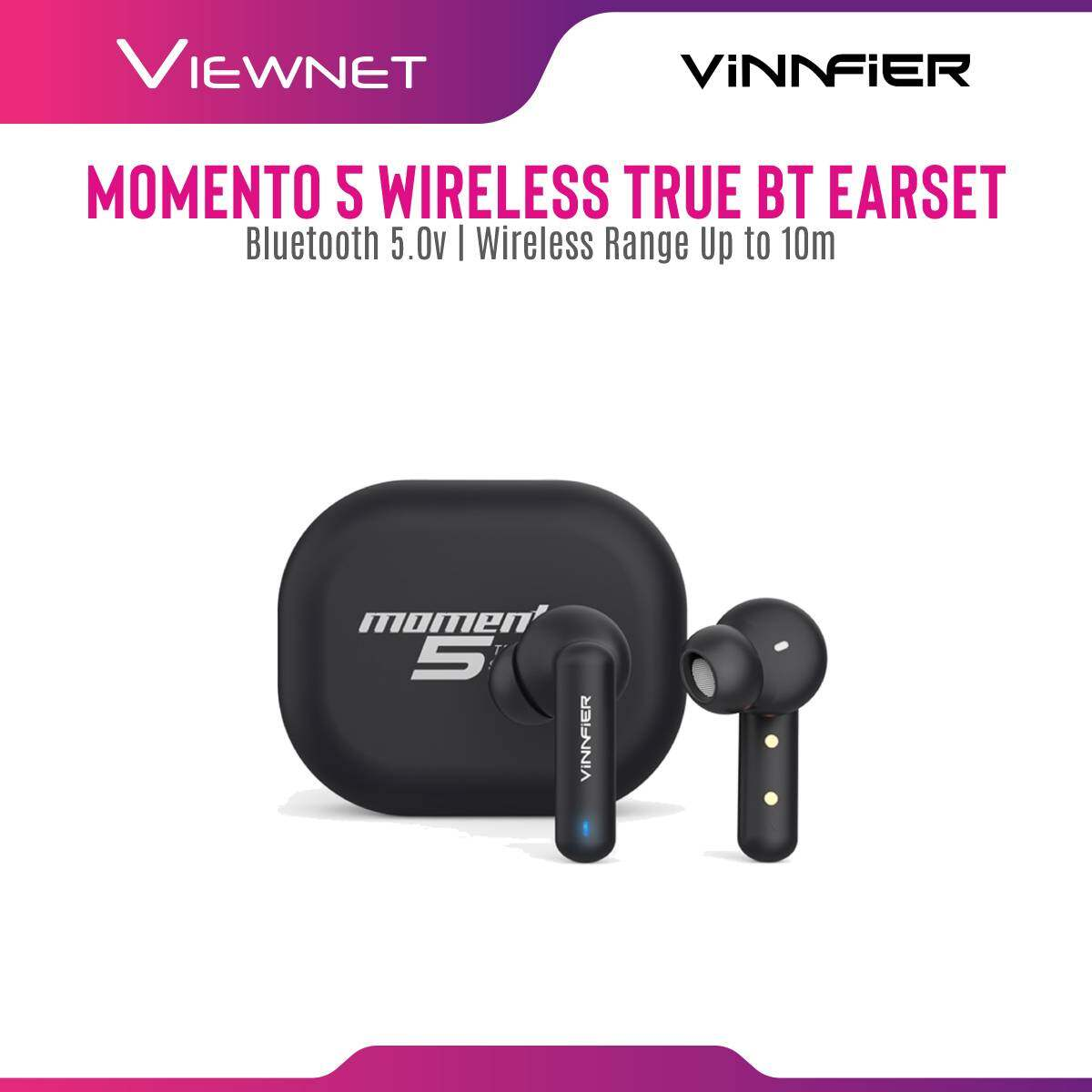 Vinnfier Momento 5 Wireless true Bluetooth Earbud with Bluetooth 5.0 , Up to 4 hours Play time, Wireless Range 10 meter