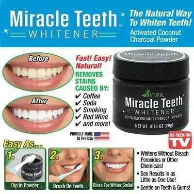 READY STOCK !! Natural Miracle Teeth Activated Coconut Charcoal Powder