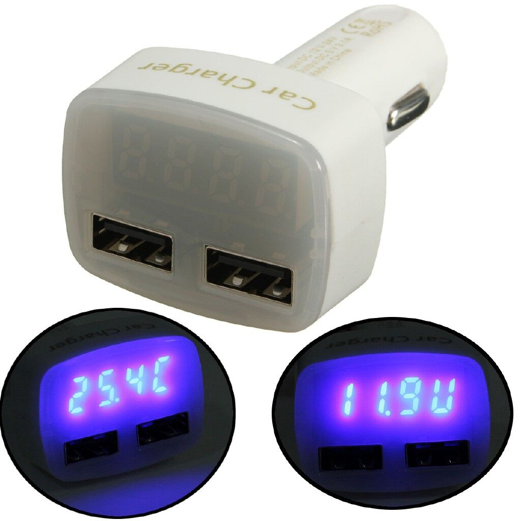 Chargers - Car 4IN1 3.1A Double USB Lighter Charger LED Digital Voltmeter 12/24V - WHITE RED / BLACK RED / WHITE BLUE / BLACK BLUE
