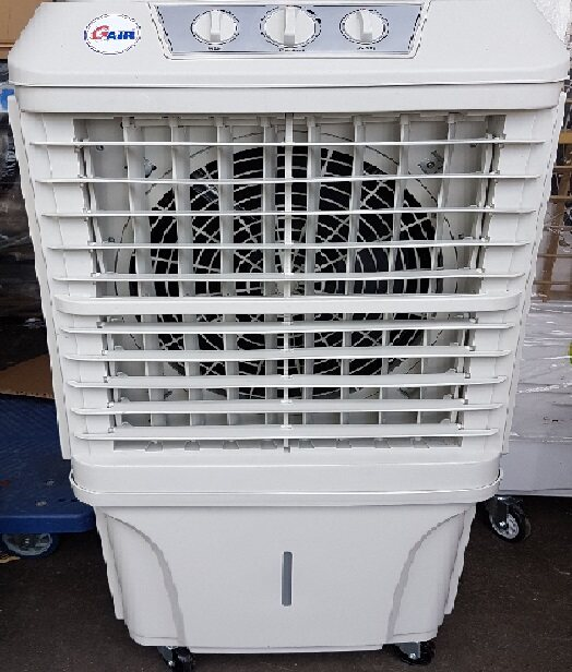 small home air cooler cooling cool cold pad evaporative water supply tank automatic fill filter flow drop fan blower wind blade wheel roller rolling handle holding holder hold sprayer spray pump control adjustable big power exhibition in out door move