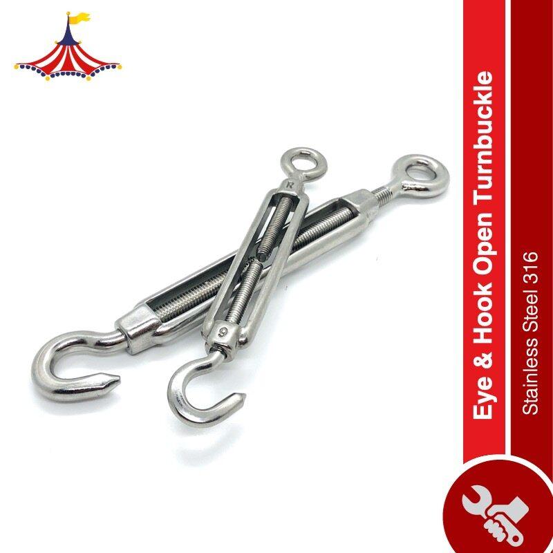 CIRCUSBOX Stainless Steel Eye & Hook Open Turnbuckle SS316