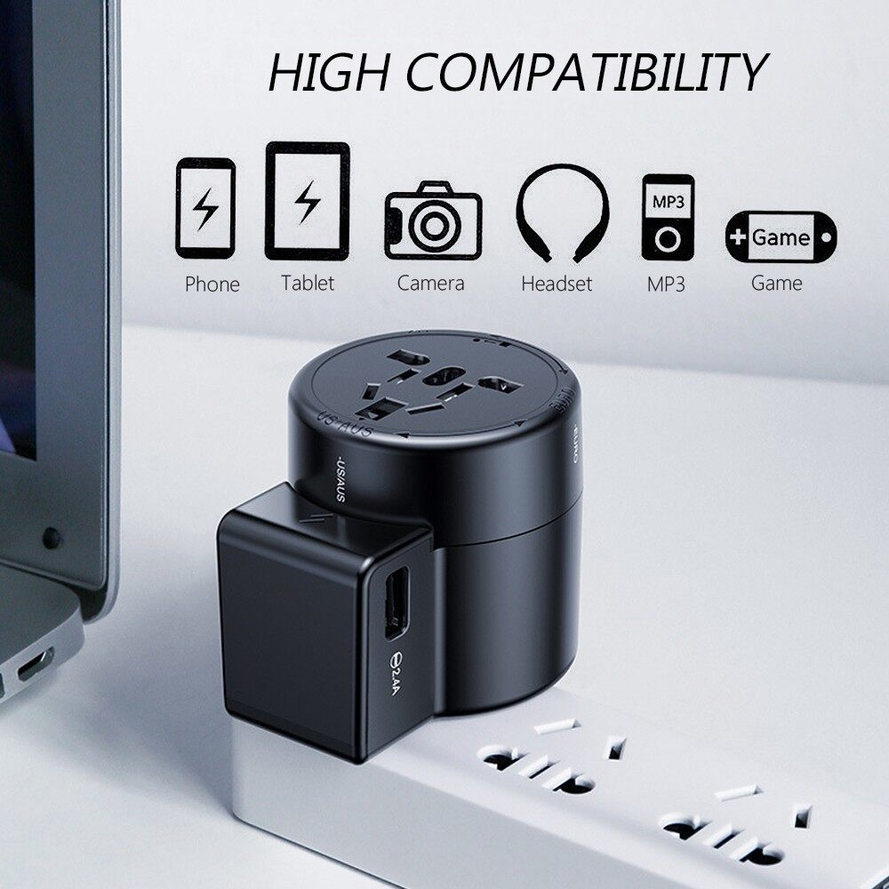 Chargers - International Universal AC Adapter Converter World Travel Power Plug 2 USB US EU - Cables
