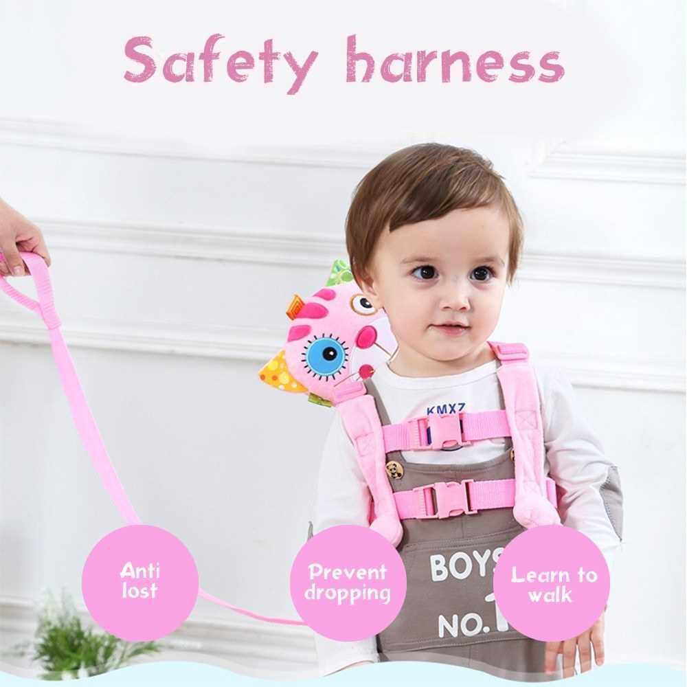 Baby Safety Harness Walker Plush Cartoon Animal Anti-lost Strap Backpacks Shoulder Bag Lion Yellow (Black)