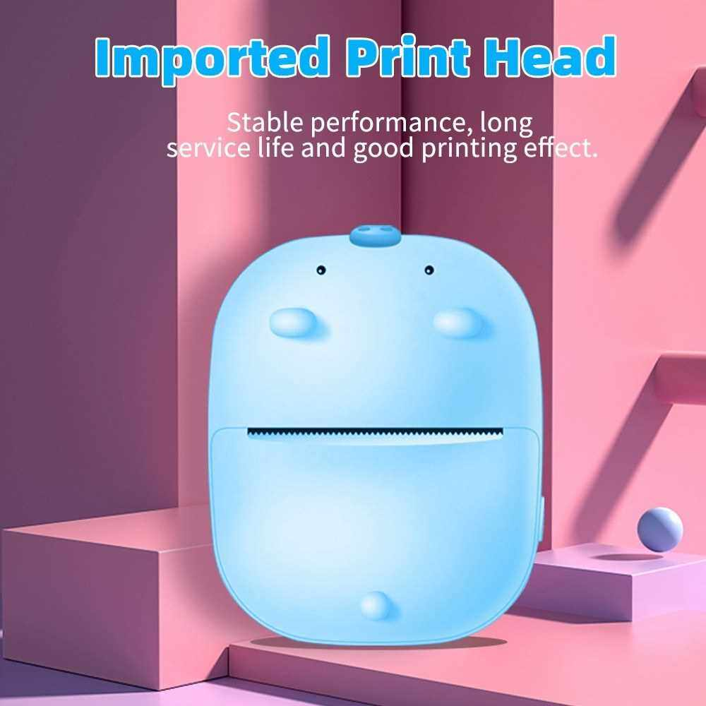 Mini Pocket Printer Portable Thermal Printer Photo Picture Memo List Receipt Printer BT Wireless Connection 200dpi with 1 Roll Thermal Paper Compatible with Android iOS (Blue)