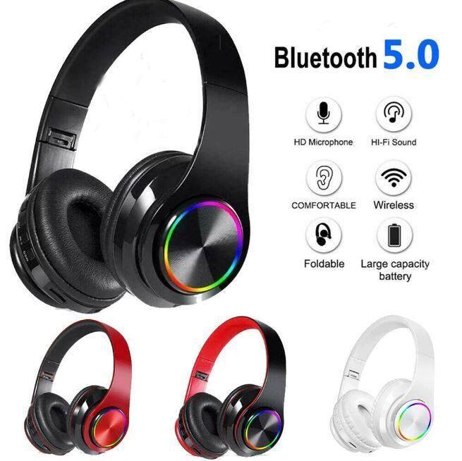B39 Led Wireless Headset Bluetooth 5.0 Colorful LED Bass Stereo Headphones Ove-Ear B39 Bluetooth Headphones with RGB Light Foldable Wireless Headset with Mic