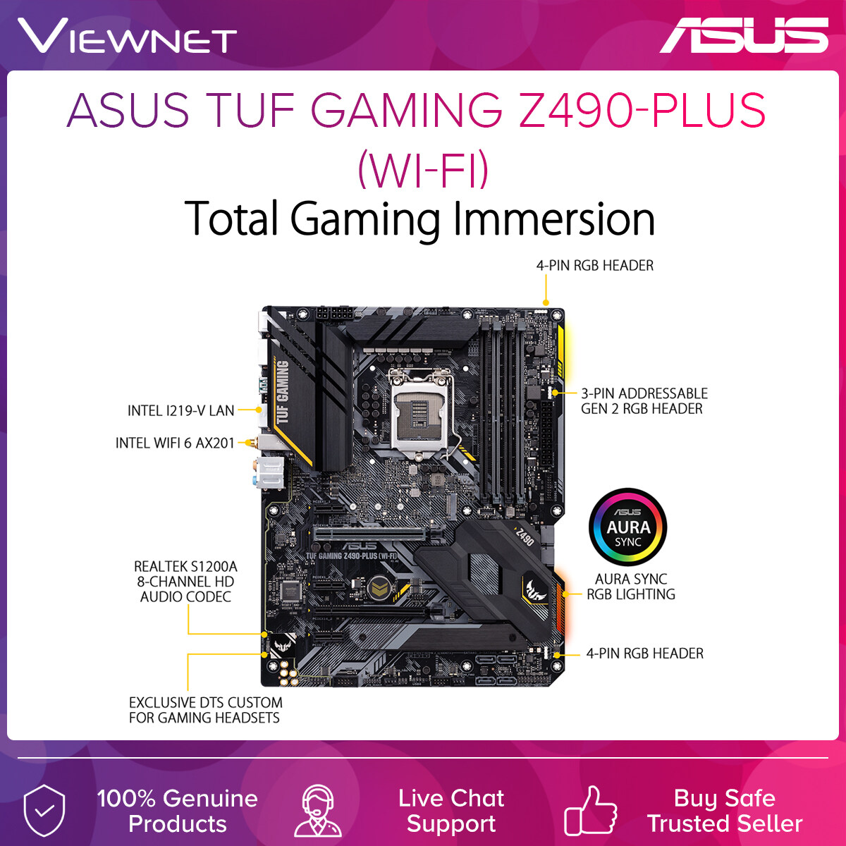 Asus TUF Gaming Z490-Plus (WiFi) ntel® Z490 (LGA 1200) ATX gaming motherboard with M.2, 14 DrMOS power stages, Intel® WiFi 6, HDMI, DisplayPort, SATA 6 Gbps, USB 3.2 Gen 2 ports, Thunderbolt™ 3 support, and Aura Sync RGB lighting
