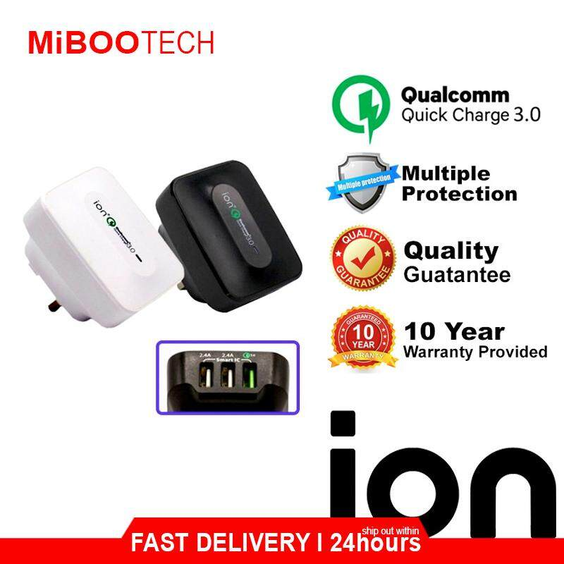 [Miboo] ION QC3 Quick Charge 3.0 25W Ultra High Speed 3 USB Smart Charger For IPhone Huawei Samsung Laptop Fast Charge + Lifetime Warranty By ION Malaysia