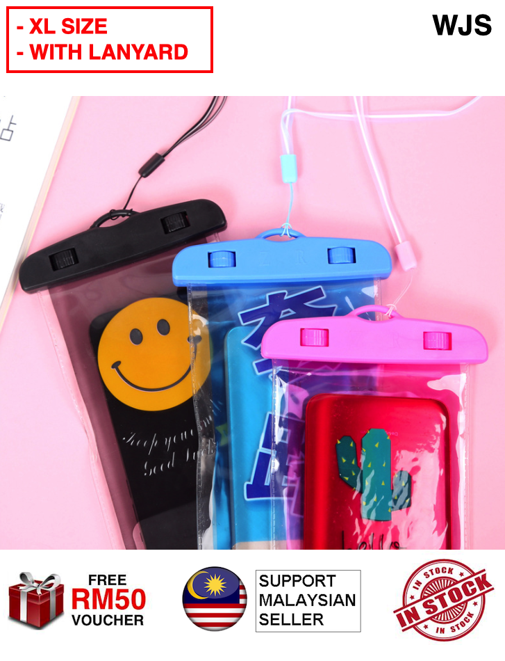 (FREE LANYARD) WJS 7 Inch Touchscreen Support Universal Outdoor Waterproof Phone Case Waterproof Case Dust Dirt Proof Floating Phone Case PVC Touchable Pouch Dry for 7inch Phone Bag Case Waterproof Case Bag Phone Pouch SUPER LARGE [FREE RM 50 VOUCHER]