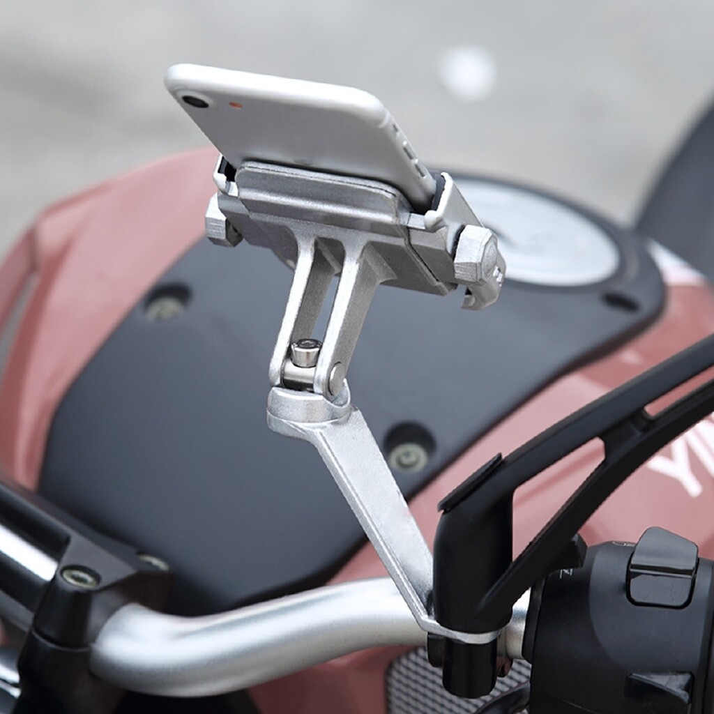 Phone Holder & Stand - Universal Aluminum Motorcycle Rear View Mirror Phone Holder Mount For Samsung S9 - SILVER( ) / BLACK( )