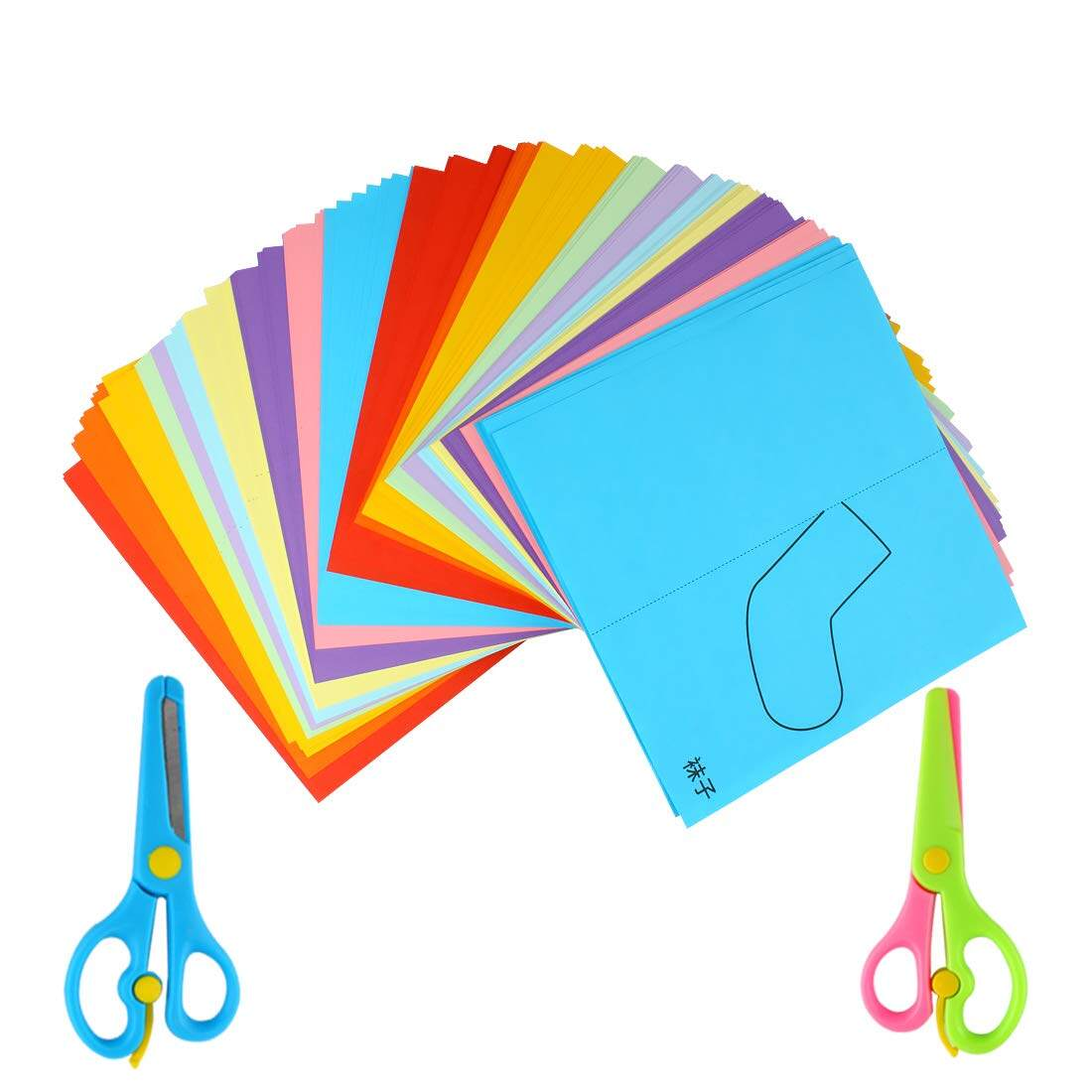 Handmade art stationery paper cutting safety scissors for kid (3Pcs_)