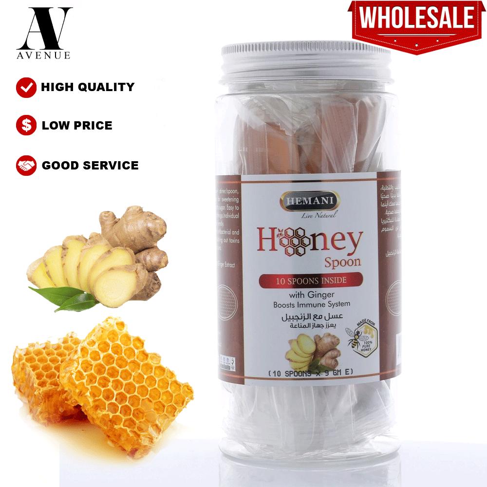 Hemani Honey Spoon with ginger 10 x 9g per Jar Boosts Immune System - Sudu Madu dengan halia -  عسل مع الزنجبيل