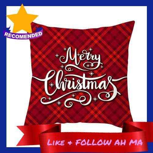 Best Selling Christmas Style Pillowcase Red Plaid Cushion Cover Square Pillow Case 450*450mm Home Sofa Decor (5)