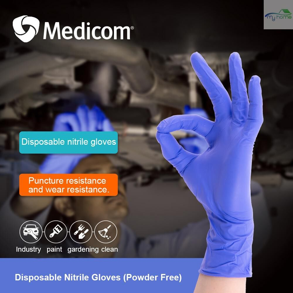 Protective Clothing & Equipment - Medicom 1133D 100 PIECE(s) Disposable Nitrile Glove Powder Free Strong Stretchy Gloves Pockmark Fingertip - BLUISH VIOLET-L / BLUISH VIOLET-M / BLUISH VIOLET-S