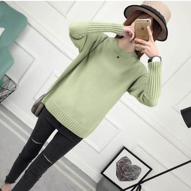 (Pre Order14 Days JYS Fashion Korean Style Women Knit TopCollection526-9860col525a-9860--Middle Green -S