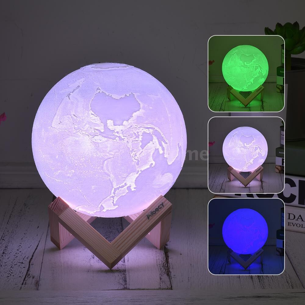 Table Lamps - 20cm/7.9in 3D Printed Earth Lamp LED Light 3 Colors Switchable (White/ Green/ Blue) - 20CM / 18CM / 15CM / 13CM / 10CM / 8CM