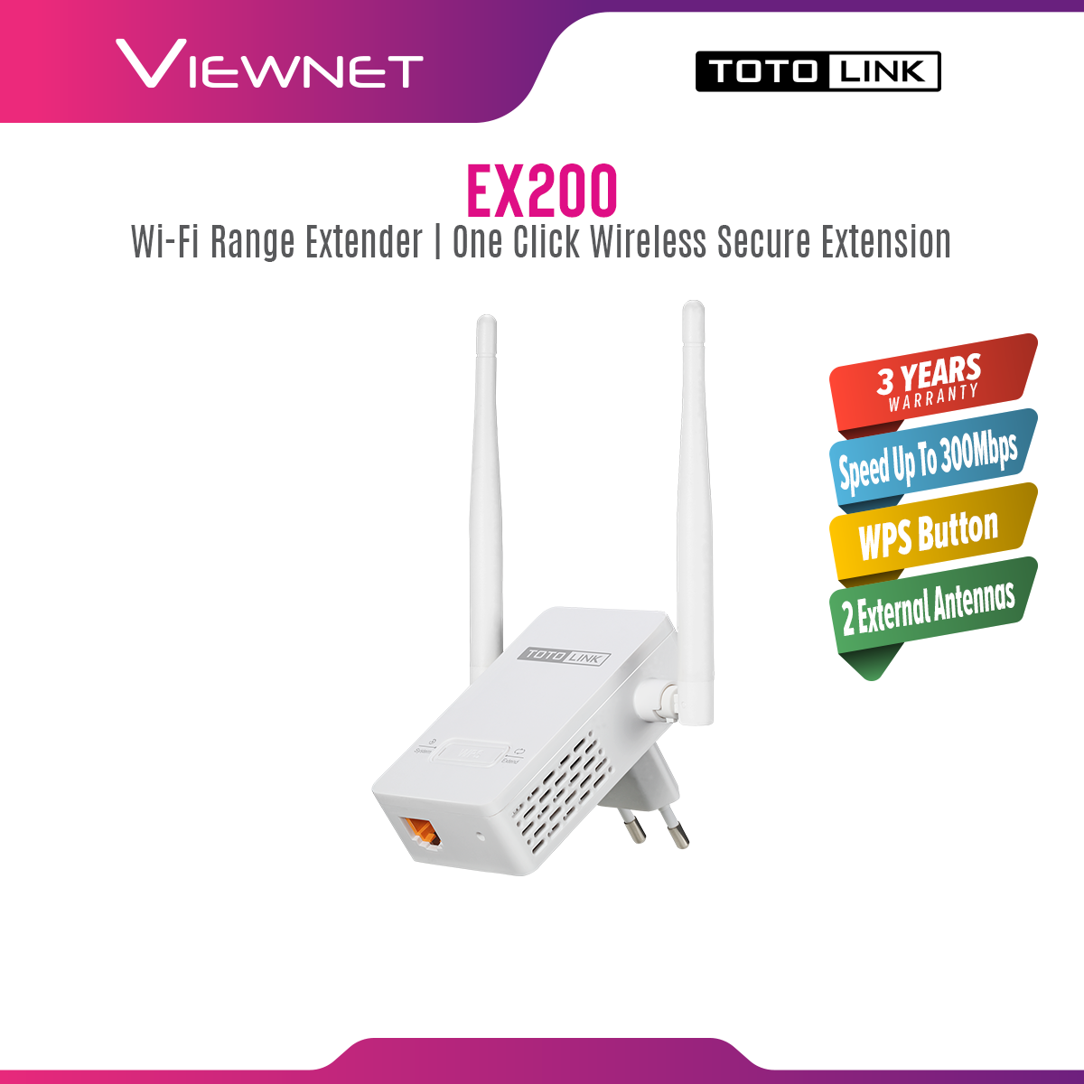 TOTOLINK EX200 300Mbps WiFi Repeater, WiFi booster, WiFi Range Extender with 2pcs of 4dBi Antennas