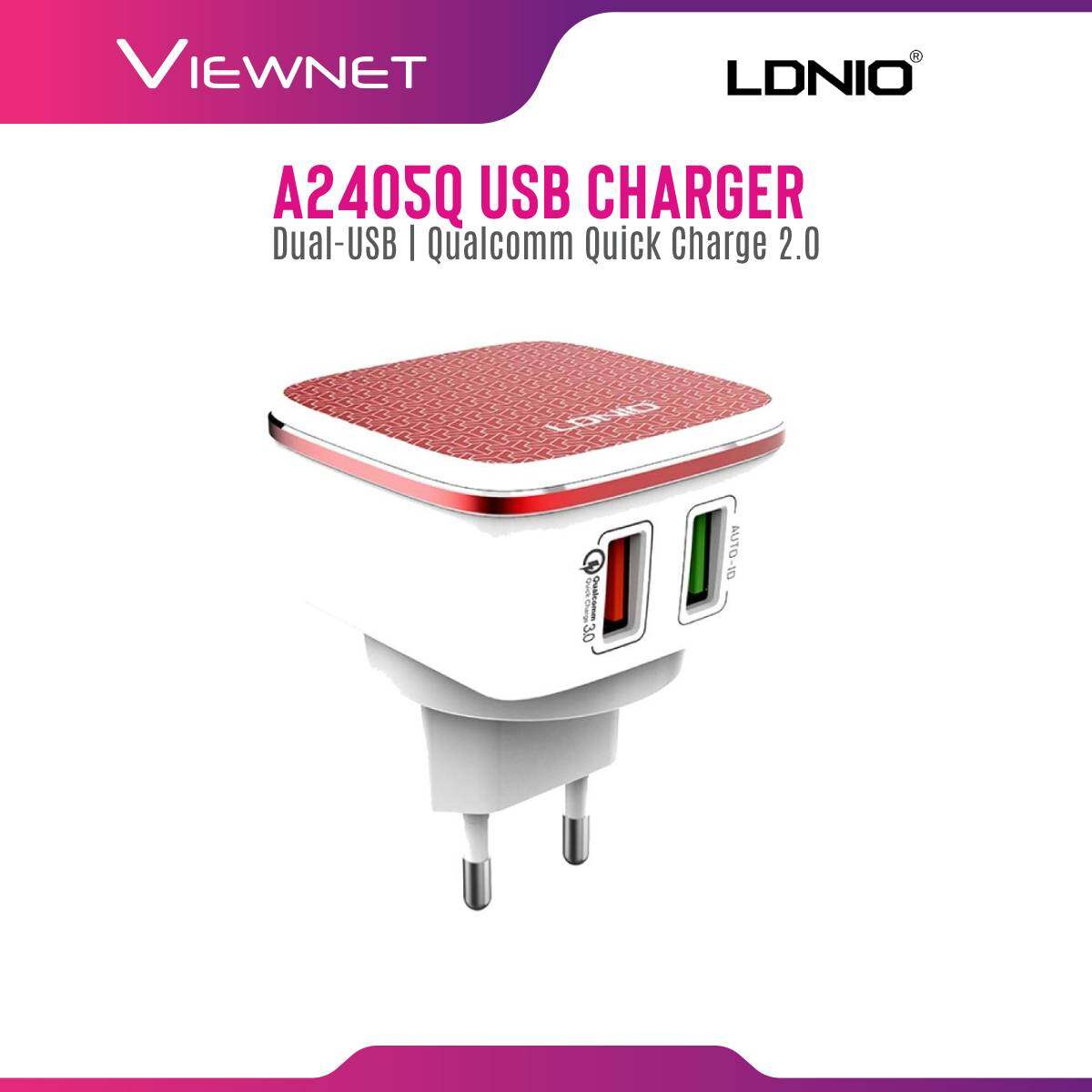 Ldnio A2405Q 4.2A Auto ID Dual-USB Qualcomm Quick Charge 2.0 EU UK US Travel Adapter Wall Charger