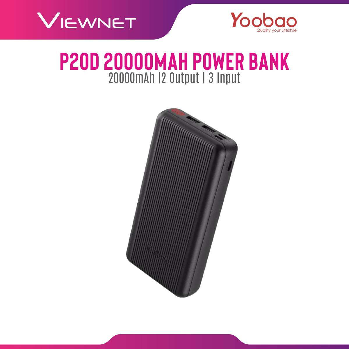 Yoobao P20D 20000mAh Power Delivery Classy Power Bank with Three Input Dual Output & LCD Power Display