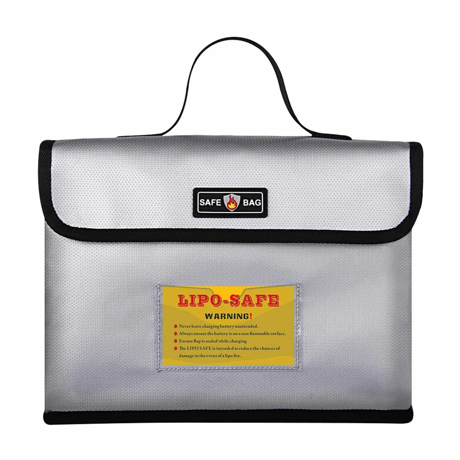 Portable Fireproof Explosionproof Lipo Battery Guard Safe Bag Large Storage Space for Battery Storage and Charging with Double Metal Zipper Case Pouch, 260*130*190mm (Standard)