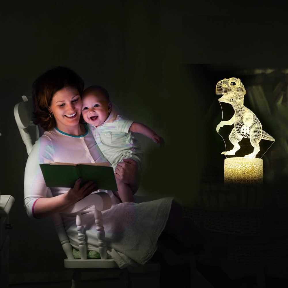 People's Choice 3D Dinosaur Led Night Light Illusion Lamp Color Changing Lights Bedside Table Desk Lamp with Touching & Remote Control for Kids Gifts Home Decoration (7)