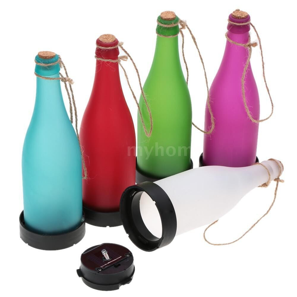 Outdoor Lighting - 5 PIECE(s) Solar Powered Light Sense Cork Wine Bottle LED Hanging Lamp for Outdoor Party Garden Courtyard - #