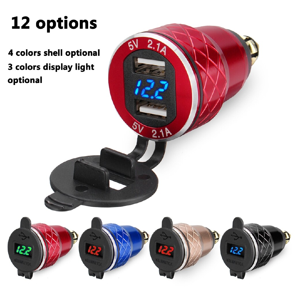 Moto Accessories - 4.2A Metal Dual USB Motorcycle Car Voltage Display Motorcycle Charger Socket - BLUE / BLUE GREEN / BLUE RED / BLACK BLUE / BLACK GREEN / BLACK RED / GOLD BLUE / GOLD GREEN / GOLD RED / RED BLUE / RED GREEN / RED