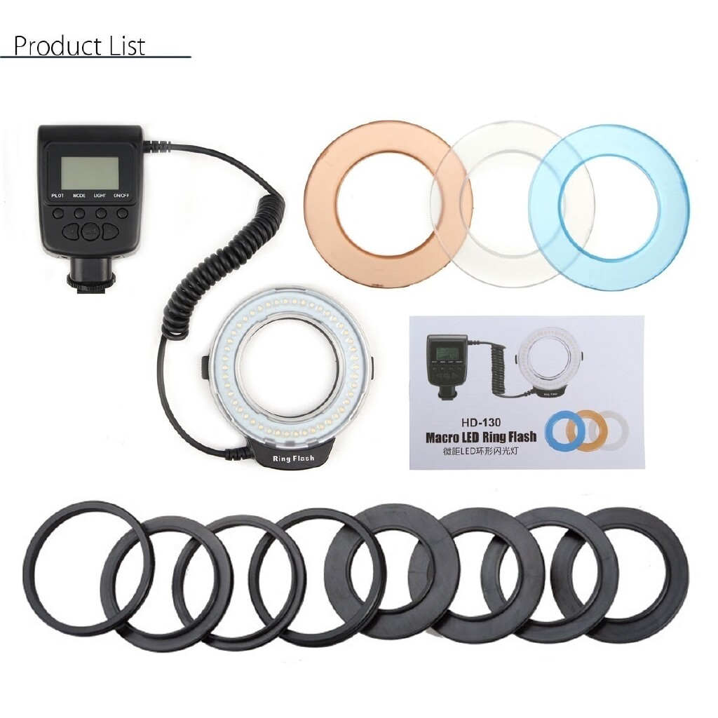 Flashes - Macro Ring Flash Light Lamp Panel Speedlite for DSLR Camera with 8 Adapter Rings - Camera Accessories