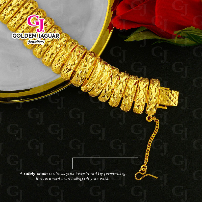 NEW GJ Jewellery Emas Bangkok Woman Bracelet Pulut Dakap - Gold Plated Caterpillar Kikir (BKK-2062002)