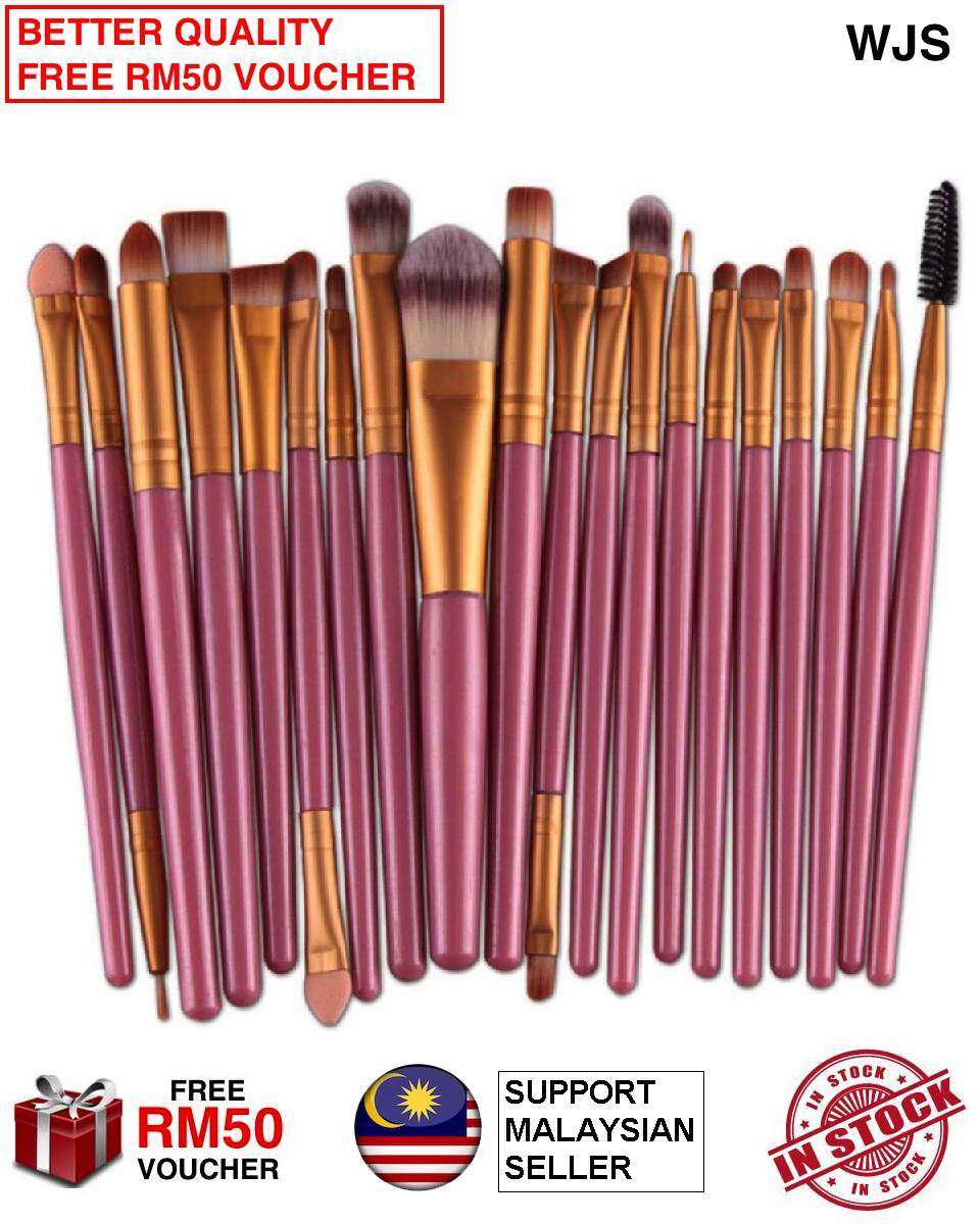 (HALAL BRUSH) WJS HALAL 20 pcs 20pcs Mini Make Up Brush Travel Set Makeup Brush Set Tools Makeup Toiletry for Travelling Portable Kit Pink Gold [FREE RM50 VOUCHER]