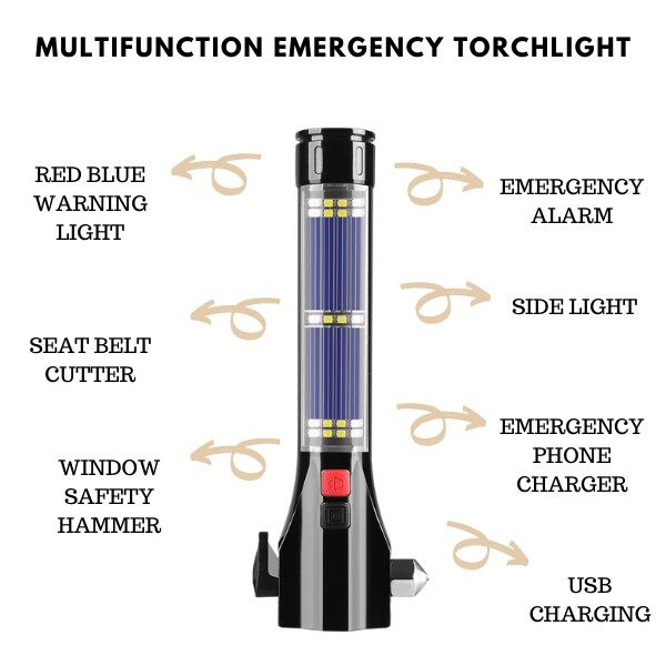[ Local Ready Stocks ] Multi-Functional Vehicle Emergency Fire Rescue Equipment Emergency Torchlight