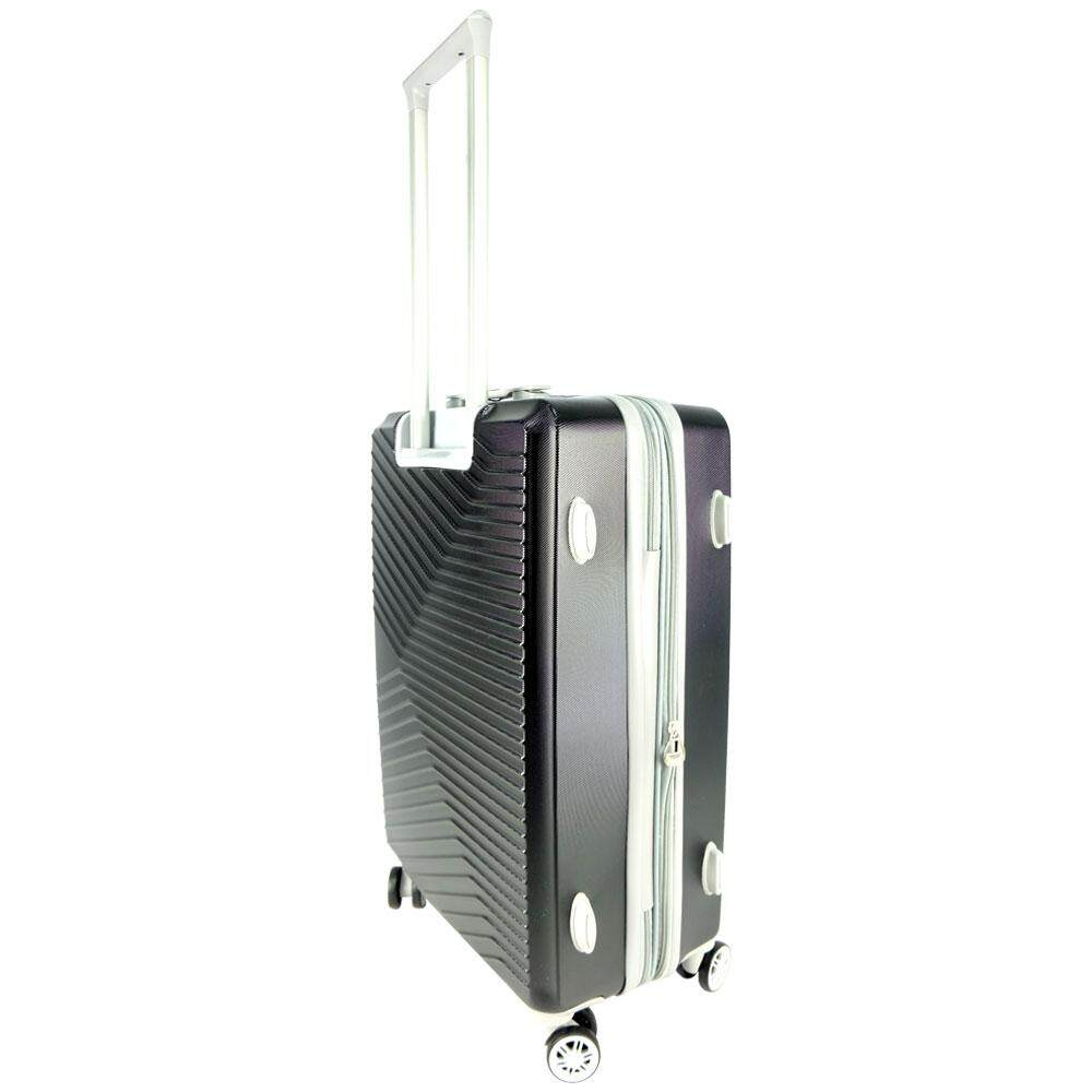 Poly-Club BA9902 4W 28inch Expendable ABS Hard Case Luggage with Anti-Theft Zipper- Black