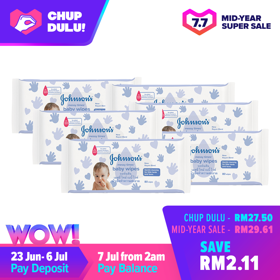 [7.7 Pre-Sale] Johnsons Baby Messy Wipes Fragrance Free Wipes 80s x 6