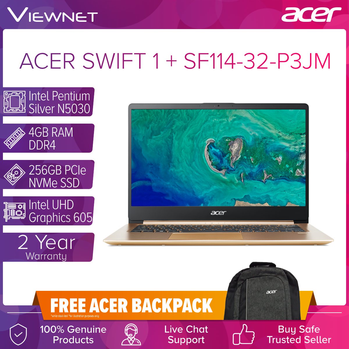 Acer Swift 1 LAPTOP SF114-32-P3JM 14
