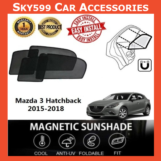 Mazda 3 Hatachback 2015-2020 Magnetic Sunshade [4 PCS]