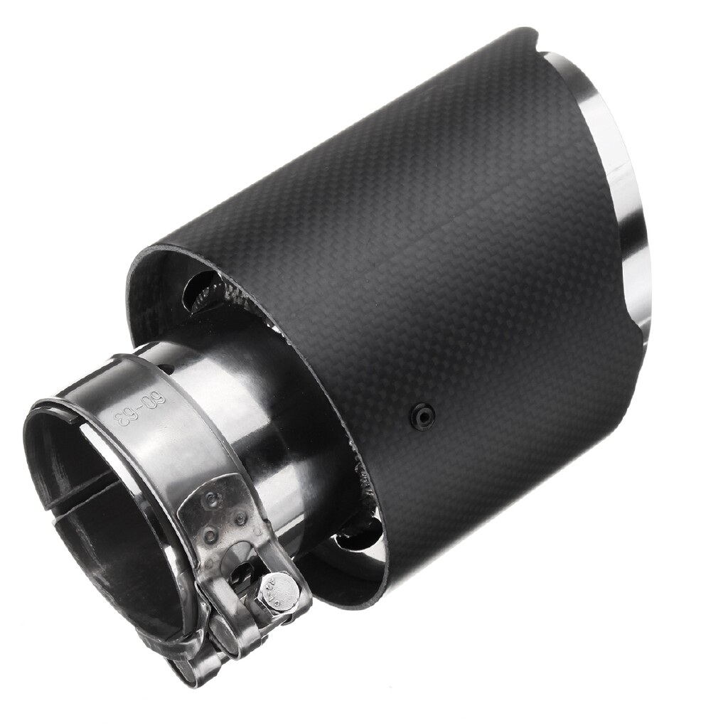Engine Parts - Universal 2.5'' Carbon Fiber Car Exhaust Pipe Tail Muffler End Tip 63MM IN-101MM - Car Replacement