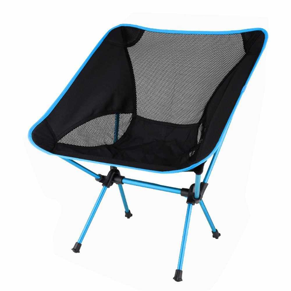 Best Selling Travel Ultralight Folding Chair Superhard High Load Outdoor Camping Chair Portable Beach Hiking Picnic Seat Fishing Tools Chair (Light Blue)