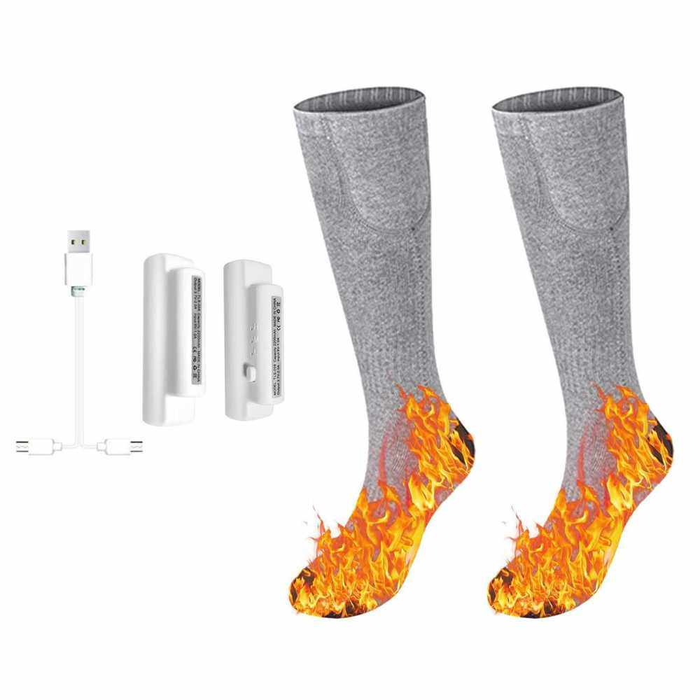3.7V Heated Socks Foot Warmers for Men And Women, Electric Heating Socks, Washable Battery Heated Socks for Winter Skiing Hiking Fishing Riding, Keep (Grey)