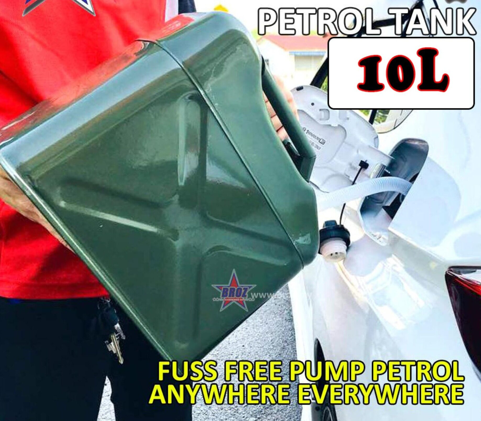 10L Fuel Tank Cans Spare Steel Petrol Motorcycle Gas Gasoline Oil Container
