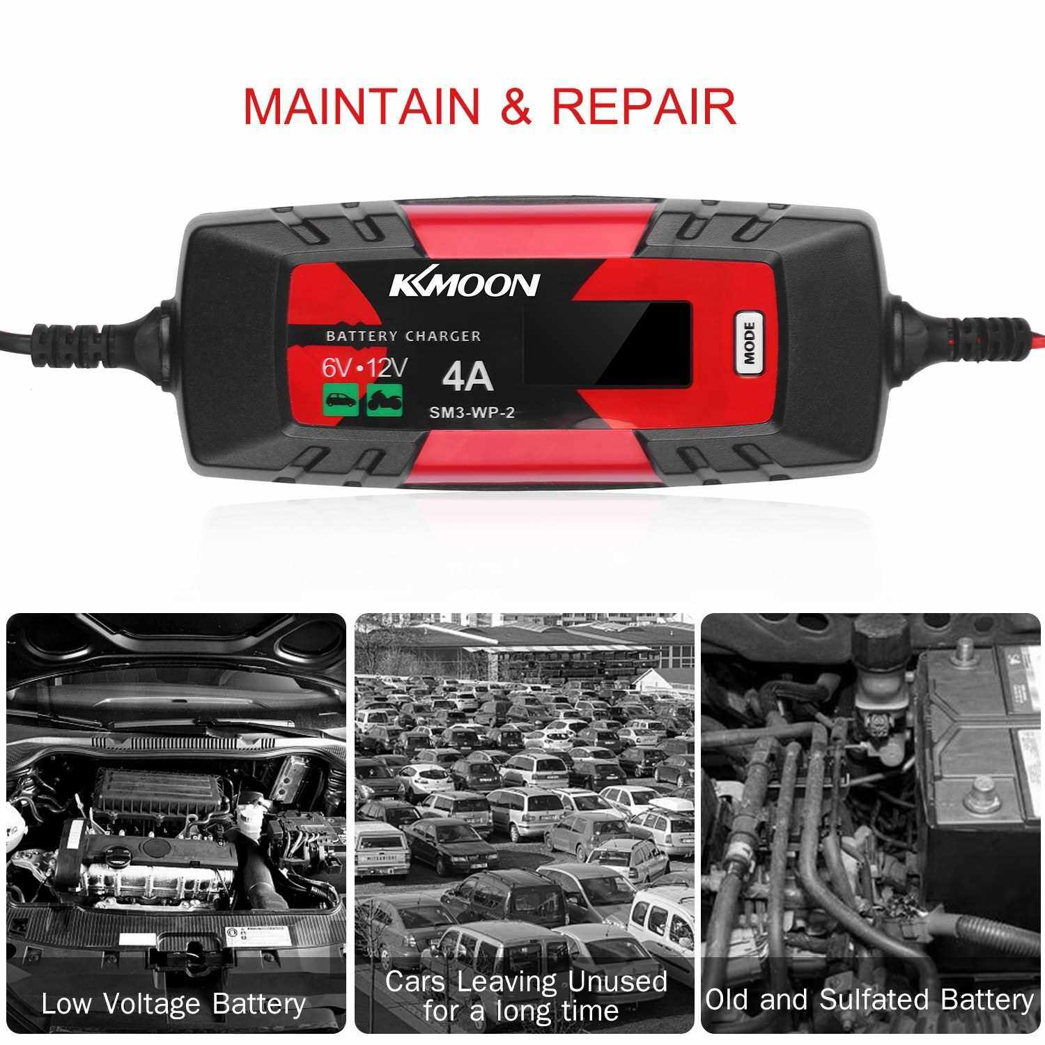 Best Selling KKmoonCar Battery Charger Battery Charger & Maintainer 6V/12V 4Amp Intelligent Automatic Battery Charger with LCD Screen Pulse Repair Charger for Cars Motorcycles Boat and More EU Plug (Eu)