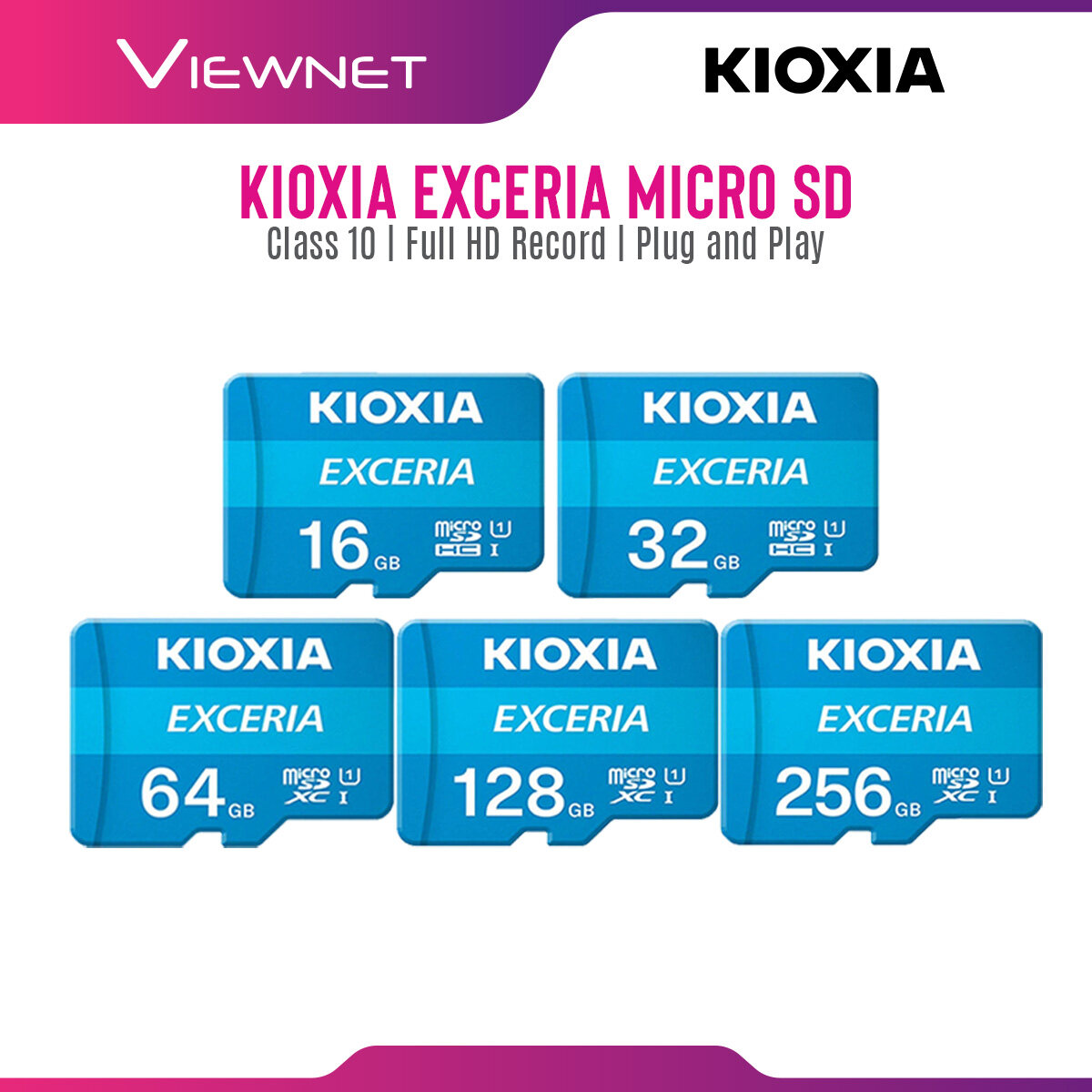 Kioxia Exceria MicroSD Memory Card with Full HD Video Record, Class 10 Speed, Up To 100MB/s, Android Compatible